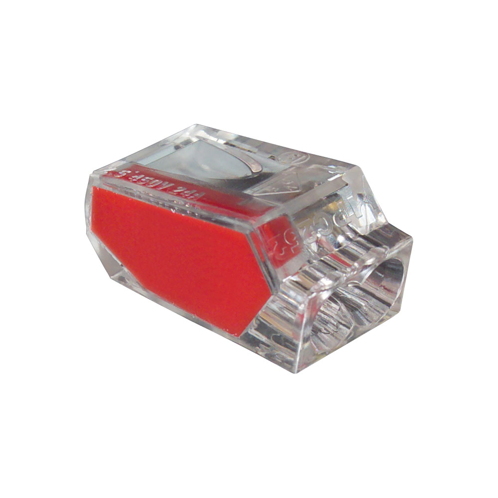 Red port pushgard push in wire connector box of